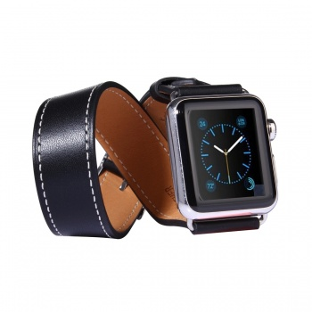 Correa de piel de doble vuelta con conectores para Apple Watch 42mm
